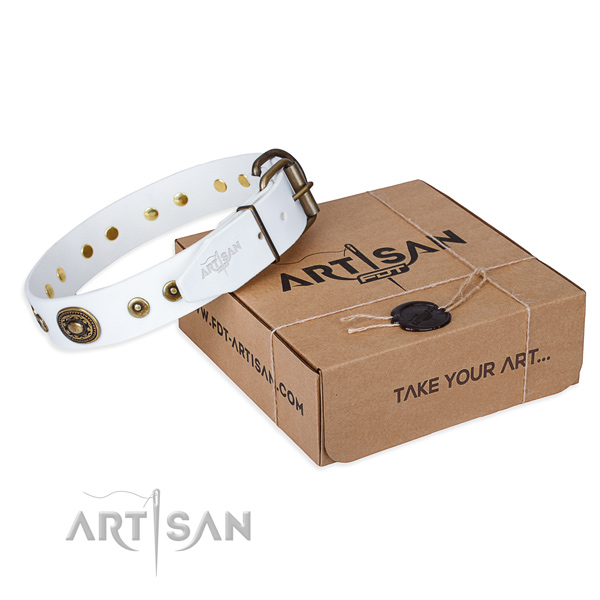 Full grain genuine leather dog collar made of top notch material with rust resistant traditional buckle