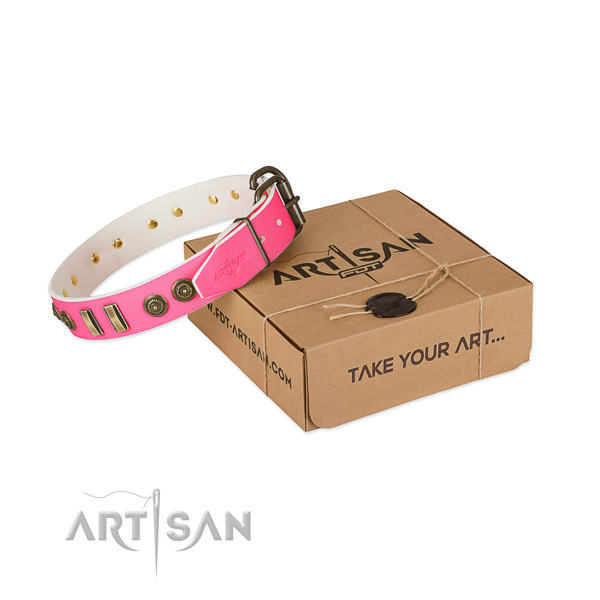 Corrosion resistant adornments on full grain genuine leather dog collar for your doggie