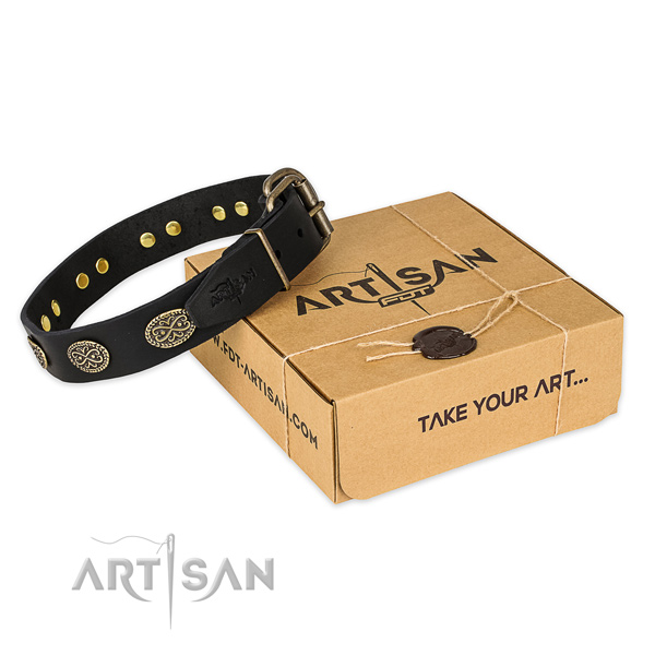 Corrosion resistant fittings on full grain leather collar for your attractive canine