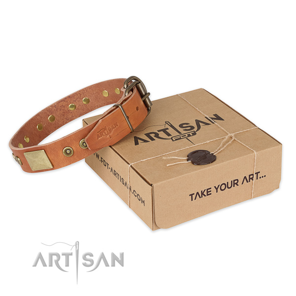 Rust resistant hardware on genuine leather dog collar for handy use
