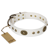 """Adorable Dream"" FDT Artisan White Leather Boxer Collar"