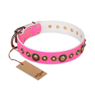 """Pink Gloss"" FDT Artisan Leather Boxer Collar with Old-Bronze Plated Circles and Studs"
