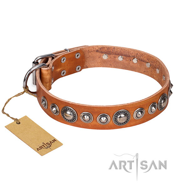 Full grain natural leather dog collar made of soft to touch material with reliable D-ring