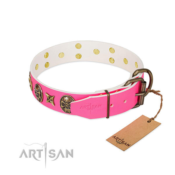 Rust-proof hardware on full grain natural leather collar for stylish walking your four-legged friend