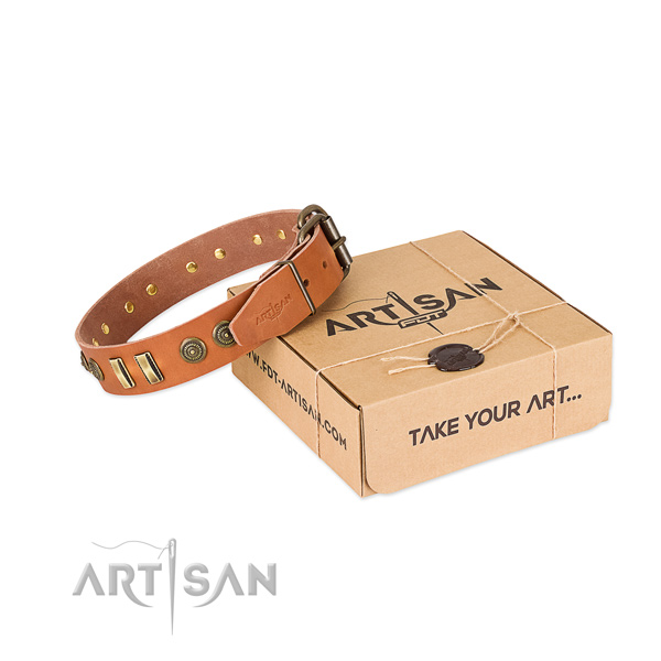 Rust-proof buckle on full grain genuine leather dog collar for your four-legged friend