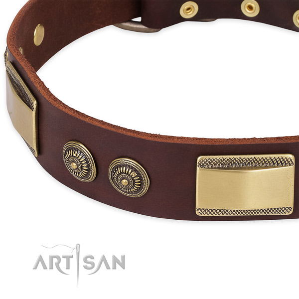 Adorned natural genuine leather collar for your stylish pet