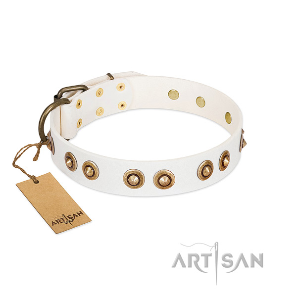 Decorated full grain leather collar for your doggie