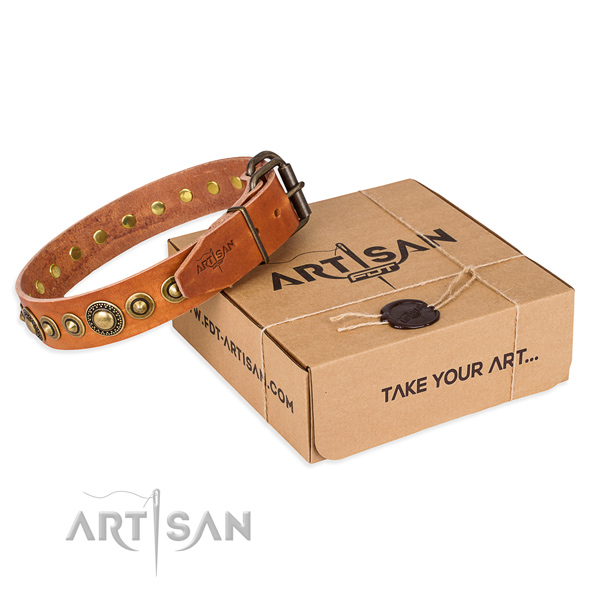 Strong genuine leather dog collar handmade for easy wearing