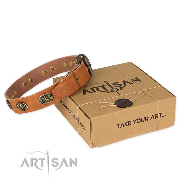 Reliable fittings on full grain genuine leather collar for your beautiful four-legged friend