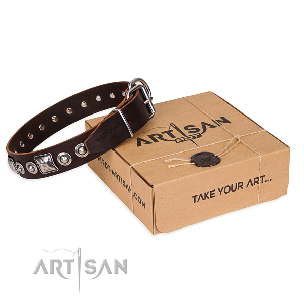 Leather dog collar made of quality material with rust resistant buckle