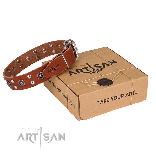 Rust resistant D-ring on genuine leather collar for your impressive pet