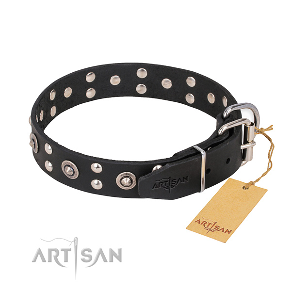 Rust-proof buckle on full grain natural leather collar for your lovely four-legged friend