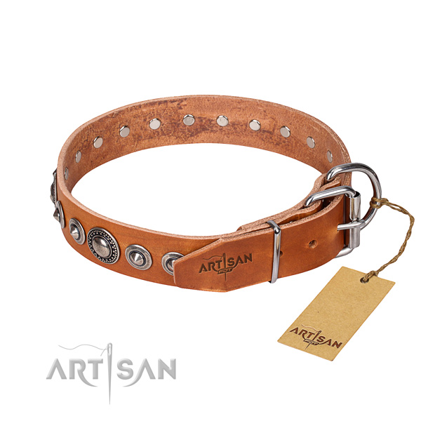 Natural genuine leather dog collar made of flexible material with durable studs