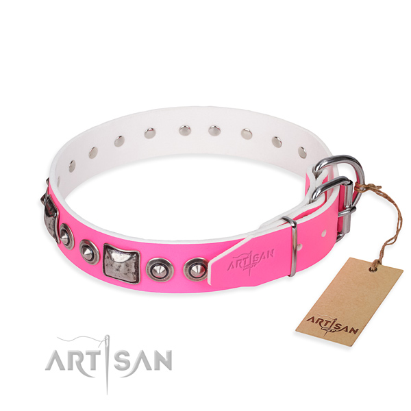 Best quality leather dog collar handcrafted for comfy wearing