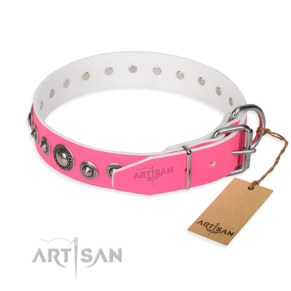 Natural genuine leather dog collar made of gentle to touch material with corrosion proof embellishments