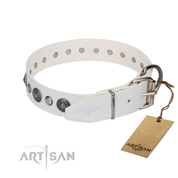 Gentle to touch full grain leather dog collar with corrosion resistant fittings