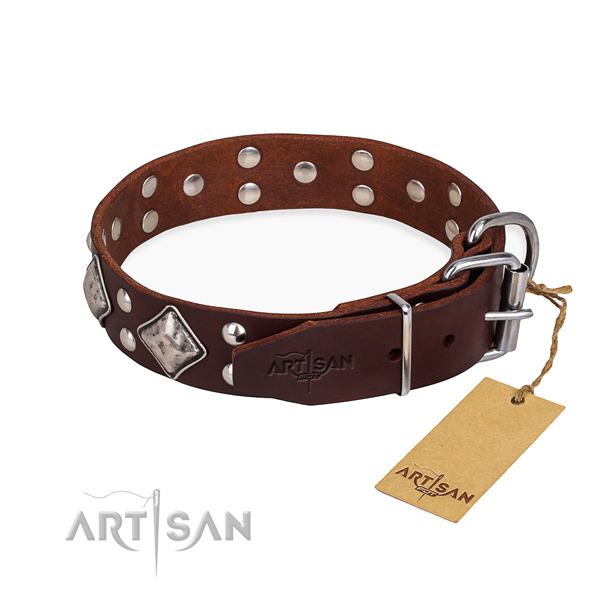 Genuine leather dog collar with designer corrosion resistant adornments