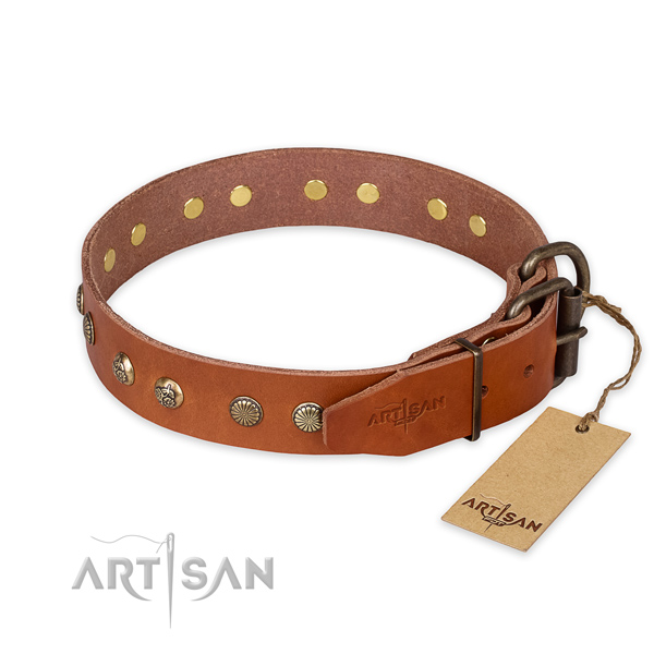 Rust-proof traditional buckle on full grain leather collar for your lovely dog