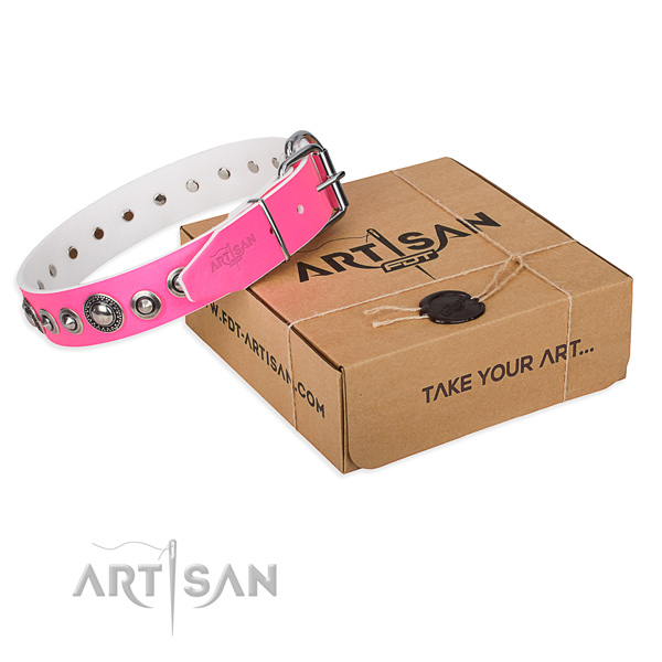 Full grain leather dog collar made of gentle to touch material with corrosion resistant D-ring