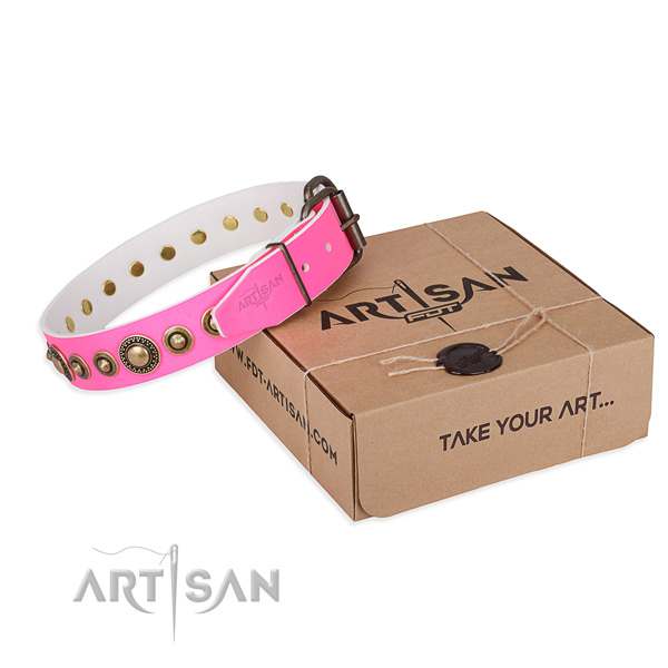 Flexible leather dog collar handcrafted for comfortable wearing