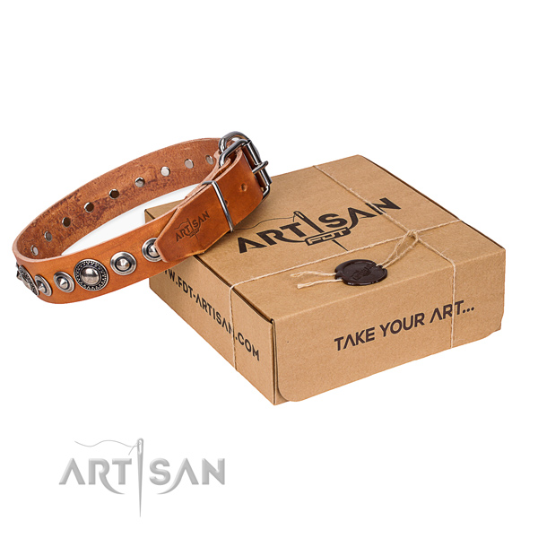 Genuine leather dog collar made of top rate material with strong hardware