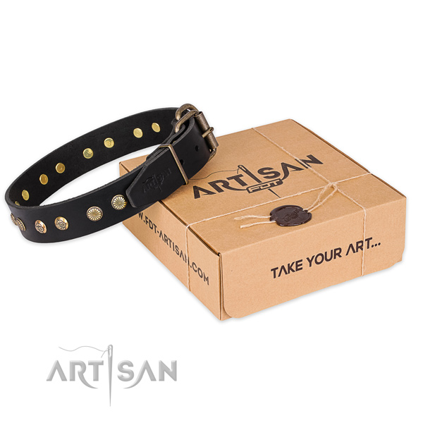 Rust resistant traditional buckle on full grain natural leather collar for your handsome pet