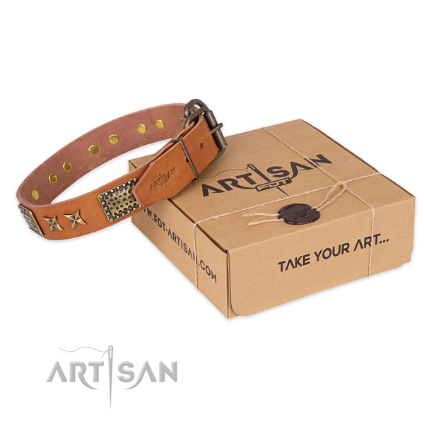 Durable fittings on full grain natural leather collar for your attractive dog