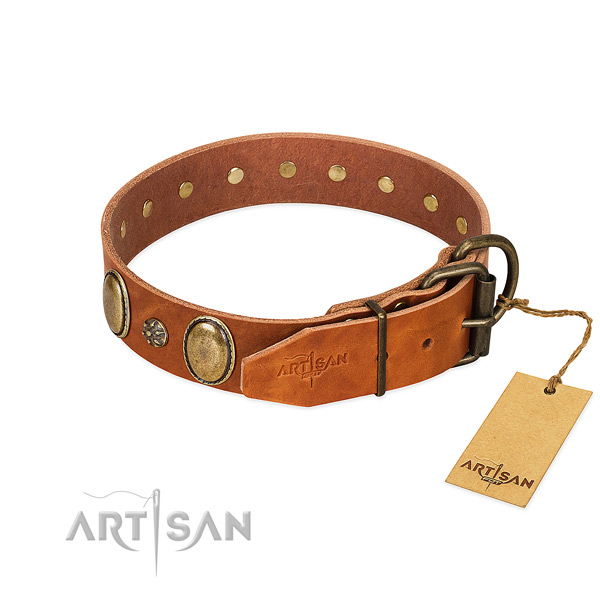 Easy wearing soft full grain natural leather dog collar