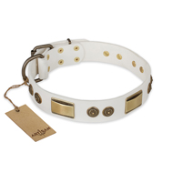 """Golden Avalanche"" FDT Artisan White Leather Boxer Collar with Old Bronze Look Plates and Circles"