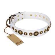 """Swirl of Fashion"" FDT Artisan Delicate White Leather Boxer Collar with Stunning Bronze-Plated Round Studs"