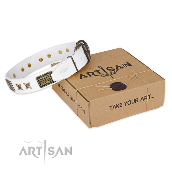 Strong hardware on full grain leather collar for your impressive pet