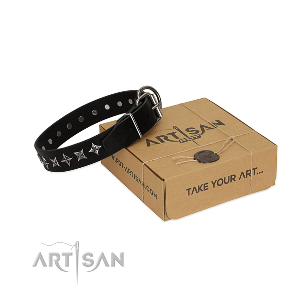 Handy use dog collar of top notch full grain genuine leather with adornments