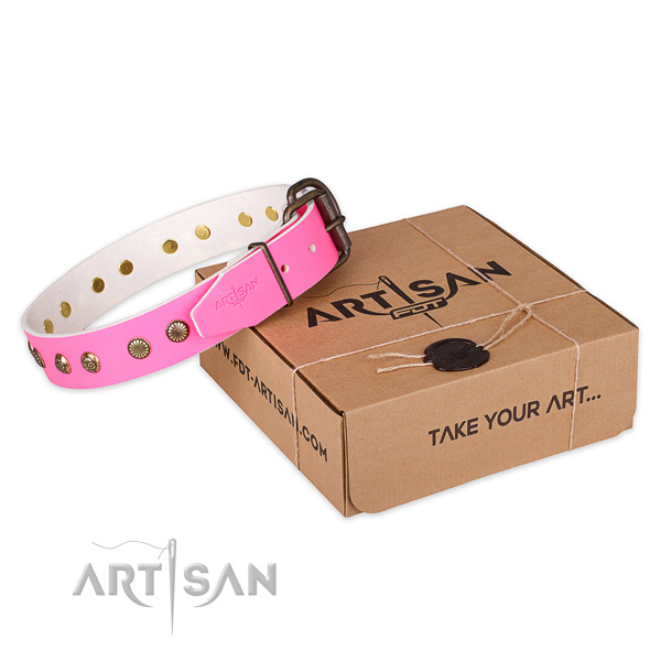 Durable hardware on genuine leather collar for your lovely doggie