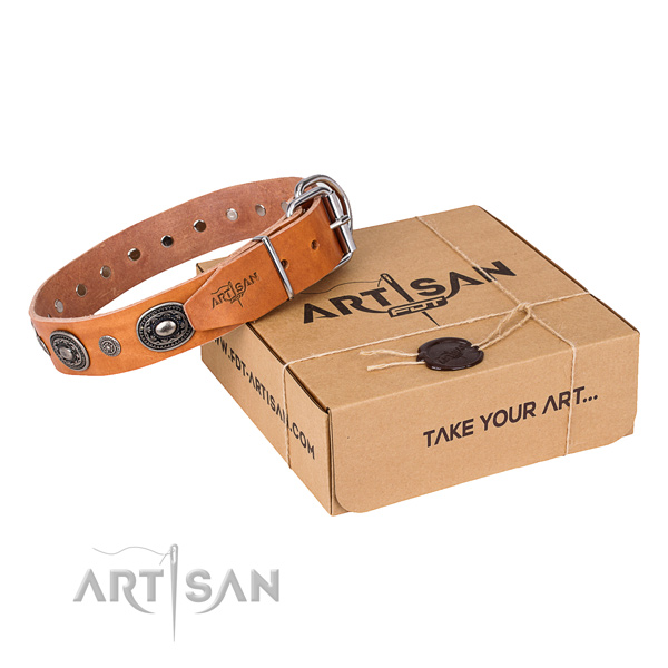 Quality genuine leather dog collar handcrafted for comfy wearing