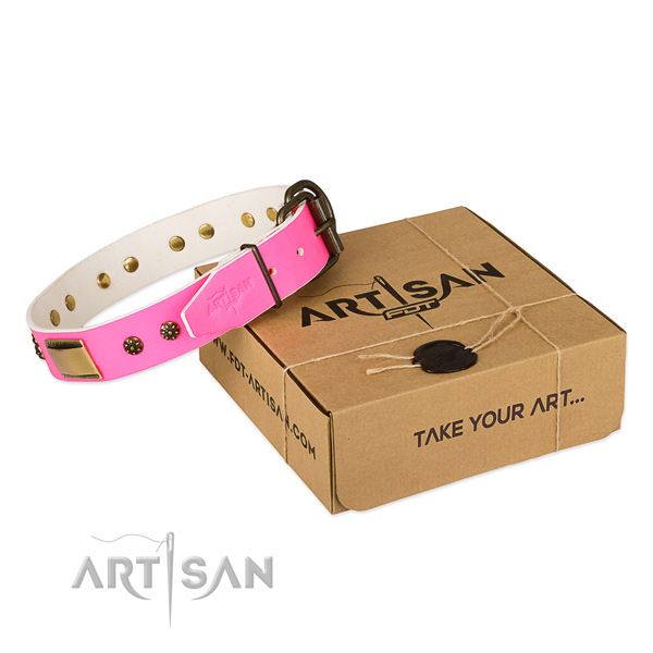 Trendy natural genuine leather collar for your attractive pet