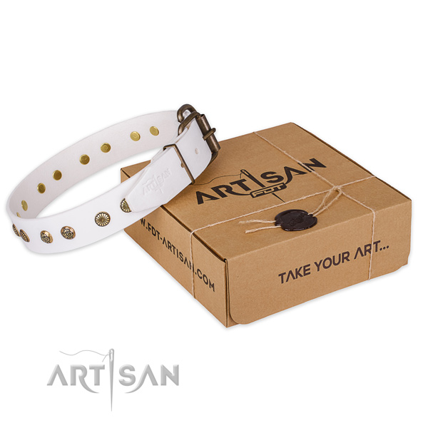 Corrosion proof hardware on full grain natural leather collar for your handsome canine