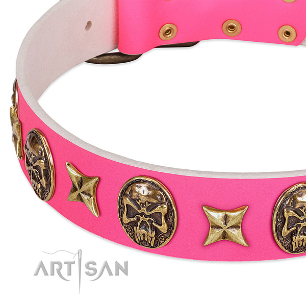 Full grain genuine leather dog collar with stylish decorations