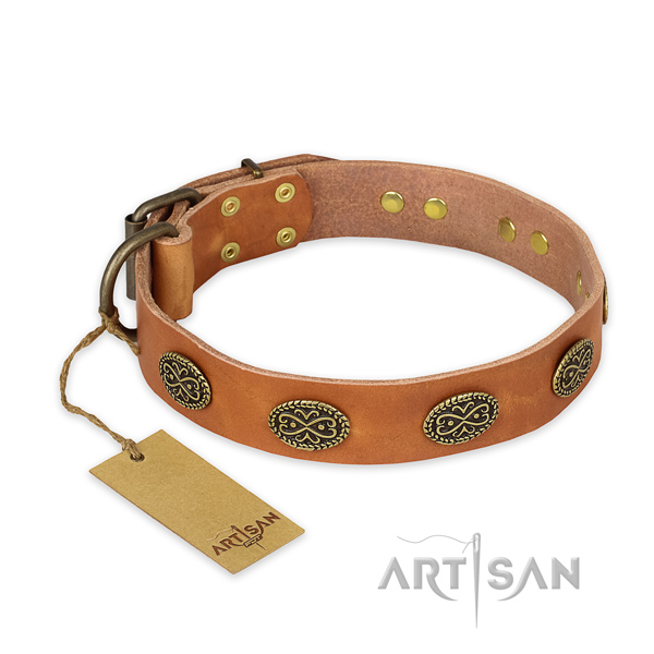 Comfortable full grain leather dog collar with durable buckle