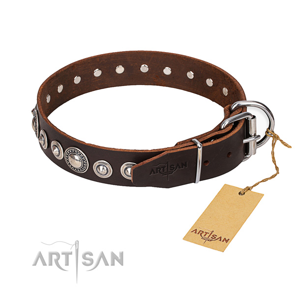 Leather dog collar made of high quality material with durable traditional buckle