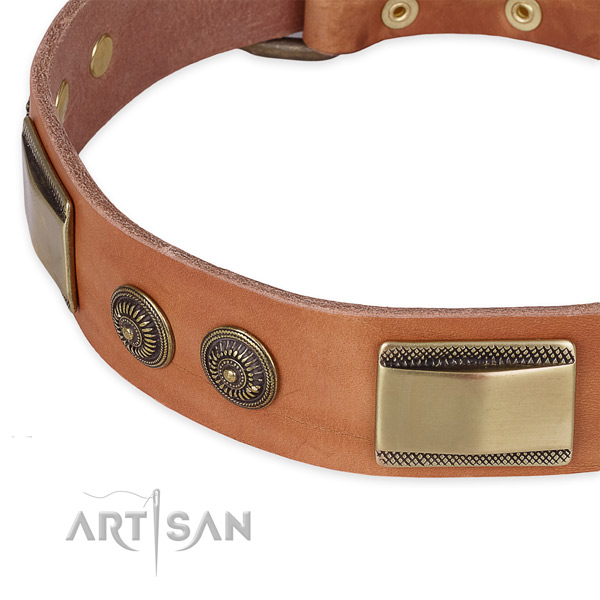 Corrosion resistant fittings on full grain genuine leather dog collar for your dog