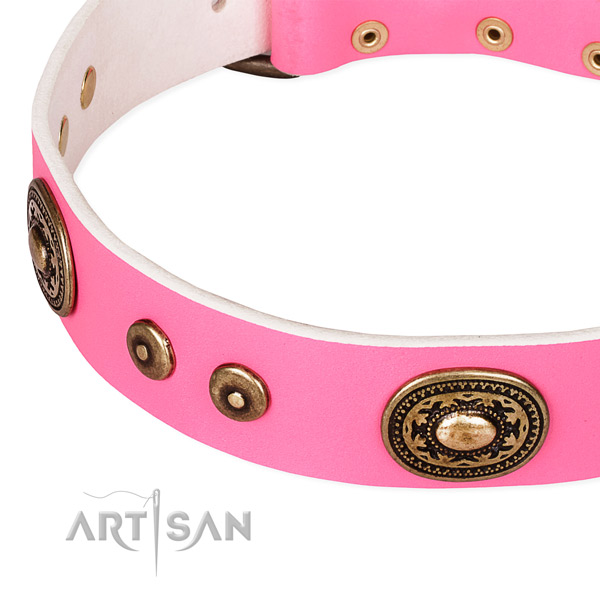 Full grain leather dog collar made of flexible material with studs