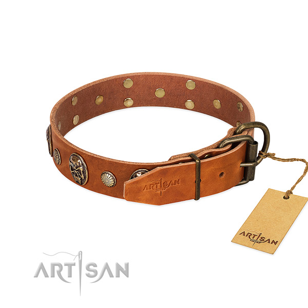 Corrosion resistant hardware on natural genuine leather collar for daily walking your dog