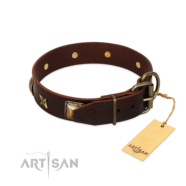 Natural genuine leather dog collar with corrosion resistant hardware and studs
