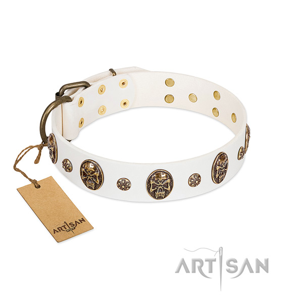 Inimitable full grain natural leather collar for your pet
