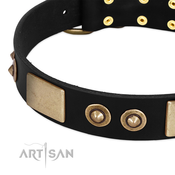 Corrosion resistant fittings on full grain genuine leather dog collar for your canine