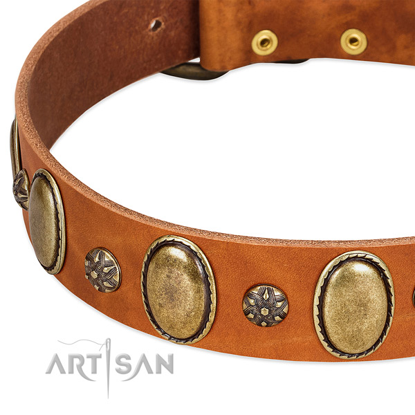 Handy use gentle to touch full grain natural leather dog collar