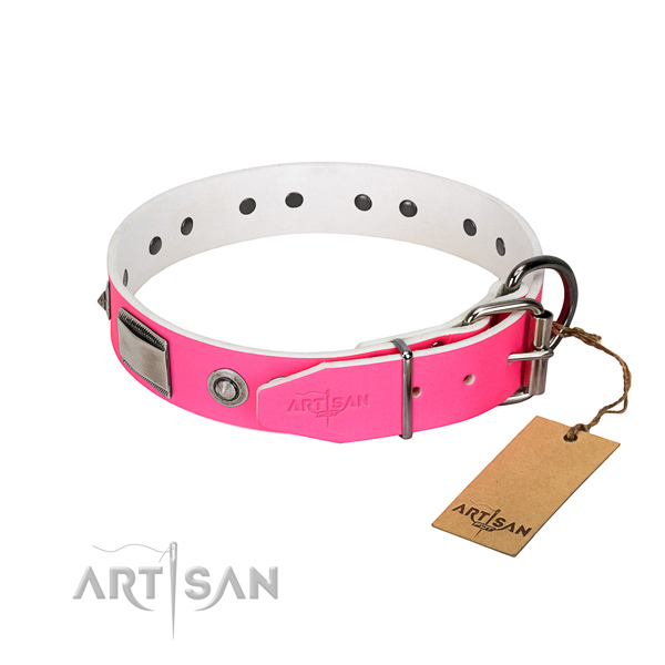 Easy adjustable dog collar of full grain natural leather with embellishments