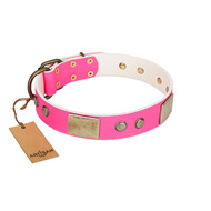 """Flower Parade"" FDT Artisan Pink Leather Boxer Collar with Plates and Studs"