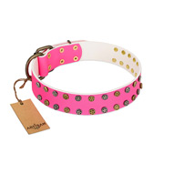 """Blushing Star"" FDT Artisan Pink Leather Boxer Collar with Two Rows of Small Studs"