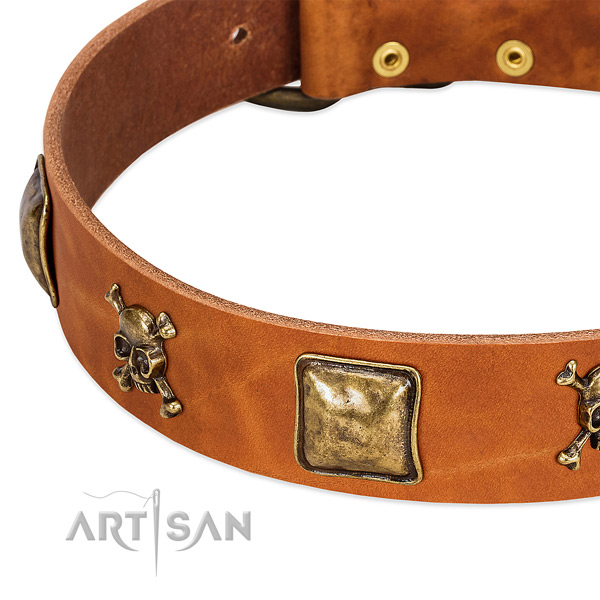 Unique full grain natural leather dog collar with rust-proof decorations
